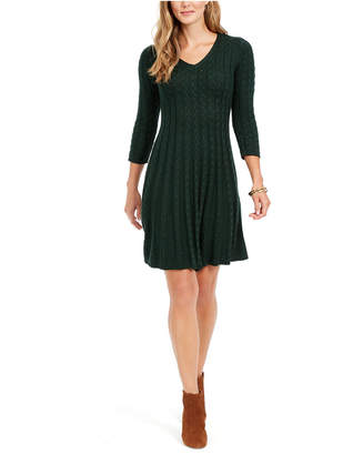 Jessica Howard Petite Cable-Knit Sweater Dress