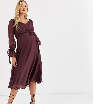 Asos DESIGN Maternity midi dress with layered skirt and wrap waist with lace trim detail