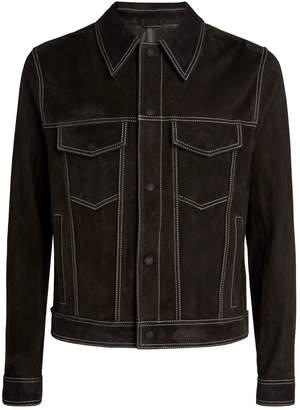 Ami Paris Contrast-Stitch Suede Jacket