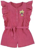 Petit Lem Woven Belted Ruffle Romper, Dark Pink, Size 2-4T