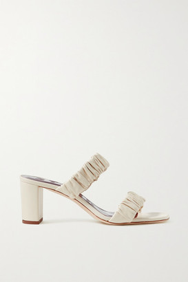 STAUD Frankie Ruched Leather Sandals - Cream