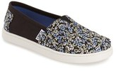 Toms Girl's 'Classic - Black Canvas Ditsy Floral' Slip-On