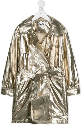 Karl Lagerfeld Paris Metallic Trench Coat