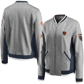 Women's WEAR By Erin Andrews Heathered Gray Chicago Bears Varsity Full-Zip Jacket