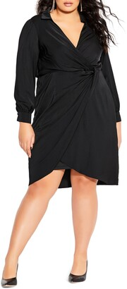 City Chic Love Long Sleeve Faux Wrap Dress