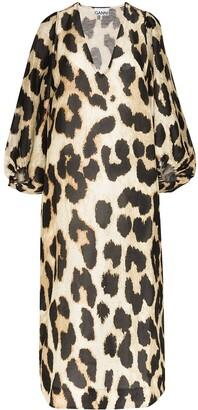 Ganni Leopard-Print Midi Dress
