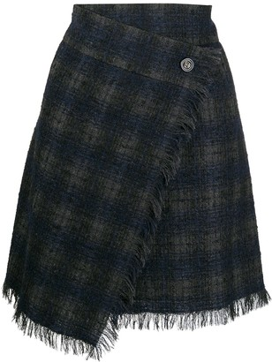 Chanel Pre Owned Plaid Wrap Skirt