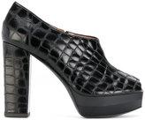 Pollini crocodile embossed peep toe pumps