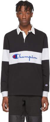 Champion Reverse Weave Black Big Script Logo Long Sleeve Polo