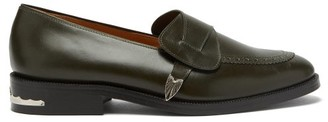 Toga Virilis Engraved-tip Leather Penny Loafers - Green