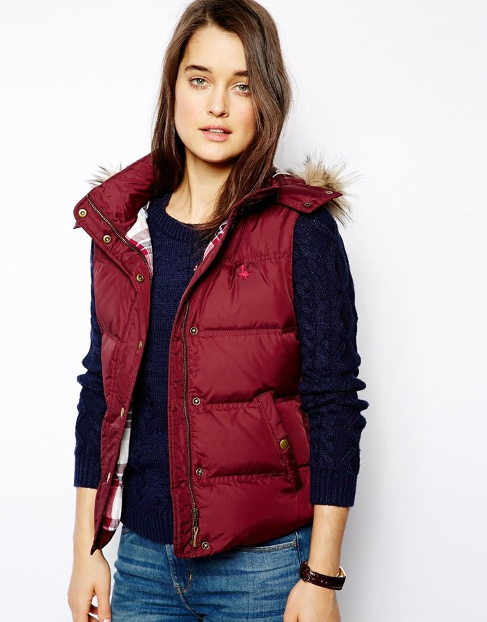 Jack Wills Padded Gilet With Faux Fur Trimmed Hood - Red