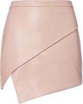 Michelle Mason Asymmetric Hem Leather Mini Skirt