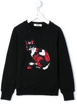 MSGM sequin cat embroidered sweatshirt