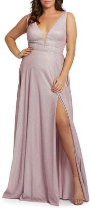 Mac Duggal Metallic Plunge Neck Side Slit Gown