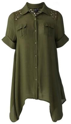 Dorothy Perkins Womens *Izabel London Khaki Lace Shoulder Shirt