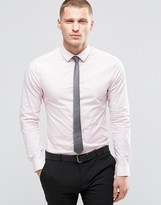 Asos Skinny Shirt In Pink With Long Sleeves And Charcoal Tie Set