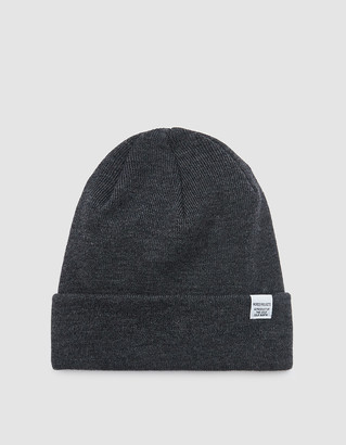 Norse Projects Men's Norse Top Beanie Hat in Charcoal Melange | Wool