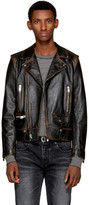 Saint Laurent Black Leather Bouche Motorcycle Jacket