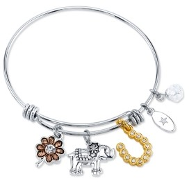 Unwritten Clover, Elephant, And Horseshoe Charm Bangle Bracelet in Stainless Steel & Gold-Tone with Silver Plated Charms
