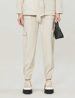 Topshop Faux-leather utility cargo trousers