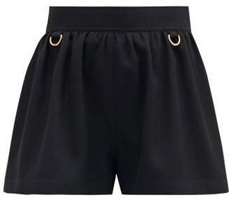 Givenchy D-ring Embellished Flared-leg Wool Shorts - Black