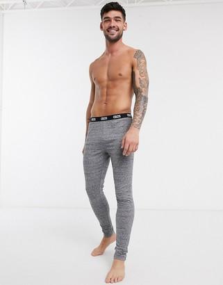 ASOS DESIGN lounge pyjama meggings in charcoal slub marl with branded waistband