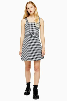 Topshop Black and White Belted Pinafore Dress