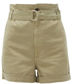 Frame Safari Cotton-blend Twill Cargo Shorts - Womens - Khaki