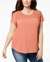 Style&Co. Style & Co Plus Size Crochet-Trim T-Shirt, Created for Macy's