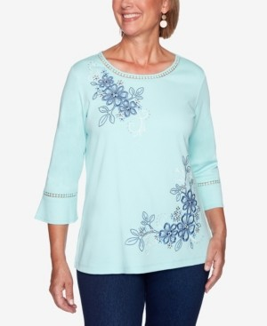 Alfred Dunner Women's Missy Denim Friendly Asymmetric Embroidered Flowers Top