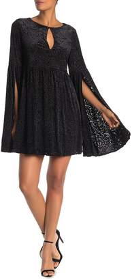 Cupcakes And Cashmere Janna Keyhole Velvet Bell Sleeve Mini Dress