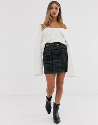 Asos DESIGN check mini skirt with double zip