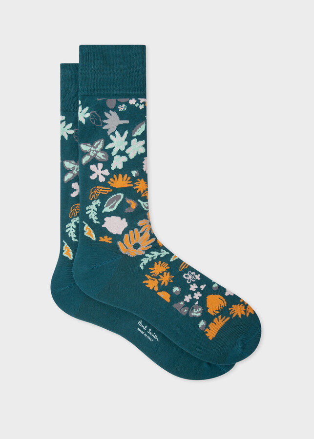 Thumbnail for your product : Paul Smith Men's Teal 'Forest Floral' Socks