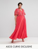 Asos Pretty Embellished Pleated Maxi Dress
