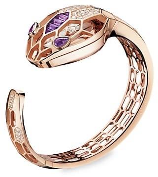 Bvlgari Serpenti 18K Rose Gold, Diamond & Amethyst Misteriosi Secret Bangle Watch