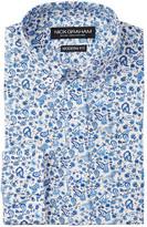 Nick Graham Blue Paisley Modern Fit Long Sleeve Dress Shirt