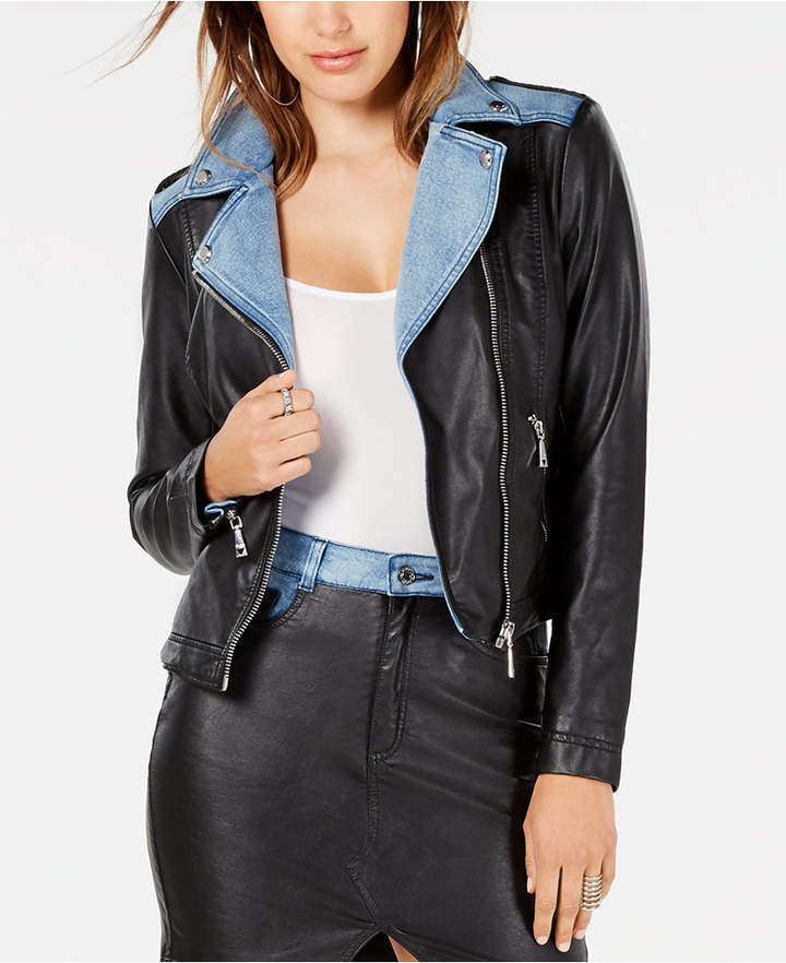 f9e0733cb1e Guess Moto Leather Jacket - ShopStyle