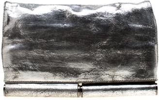 Diane von Furstenberg Silver Metallic Leather Bonnie Foldover Clutch