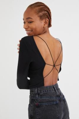 Urban Outfitters Marissa Open Back Long Sleeve Top - Black XS at