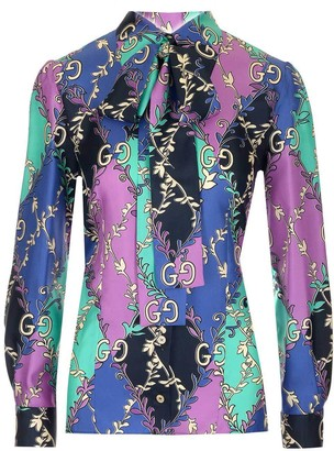 Gucci Mixed Printed Pussybow Blouse