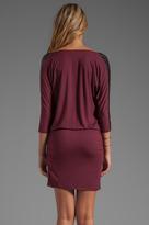 C&C California Faux Leather Trim Draped Dress