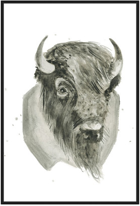 Jonathan Bass Studio Bison Bust, Decorative Framed Hand Embellished Can