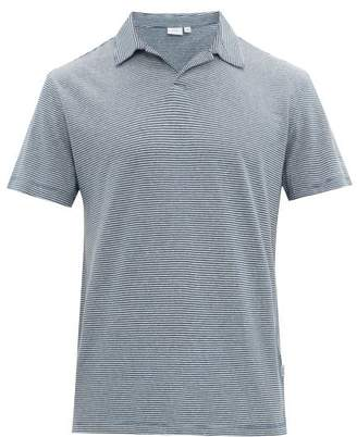 Onia Shaun Striped Open-collar Linen-blend Polo Shirt - Mens - Navy White