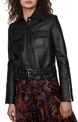 Maje Blizalia Leather Jacket