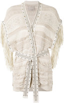 Laneus fringed knit wrap cardigan - women - Cotton/Polyamide/Polyester/Viscose - 40