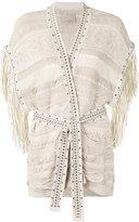Laneus fringed knit wrap cardigan