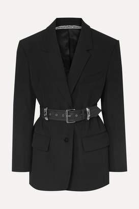 Alexander Wang Oversized Belted Studded Wool Blazer - Black