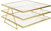 The Well Appointed House Worlds Away Jonathan Three Tier Gold Leaf Coffee Table with Beveled Glass