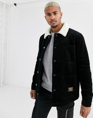 Topman borg lined cord trucker jacket in black