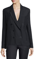 CNC Costume National Peaked-Lapel Double-Breasted Jacket, Black